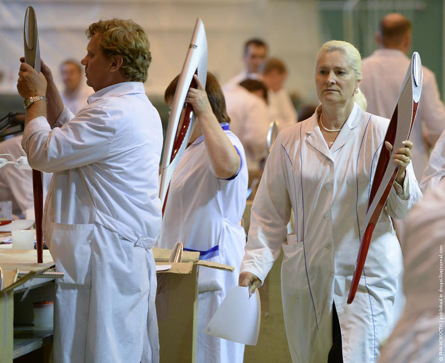 Производство факелов для Олимпийских игр в Сочи