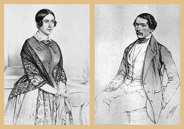 Аврора Карловна Шернваль-Демидова и Андрей Николаевич Карамзин (рис. XIX в.)