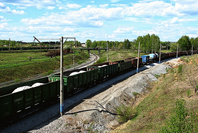 Место схождения Горнозаводской (левая ветка) и Богословской железных дорог (фото 2000-х гг.)