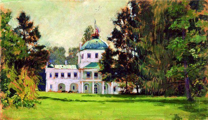 Борис Кустодиев «Усадьба в парке» 1912 г. (из коллекции НТМИИ)