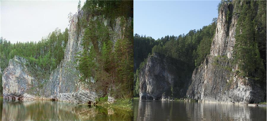 Камень Омутной (фото слева С. Прокудин-Горский, справа А. Казанцева)