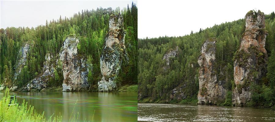 """Камень """"Столбы"""" (фото слева С. Прокудин-Горский, справа А. Казанцева)"""