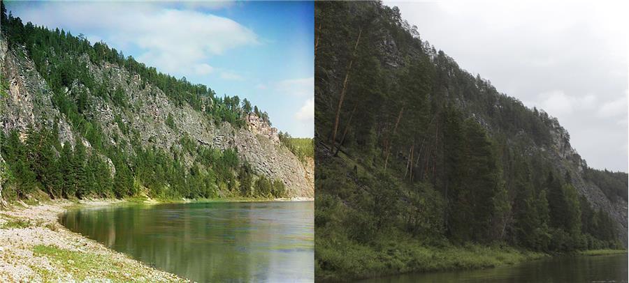 """Камень """"Великан"""" (фото слева С. Прокудин-Горский, справа П. Казарина)"""
