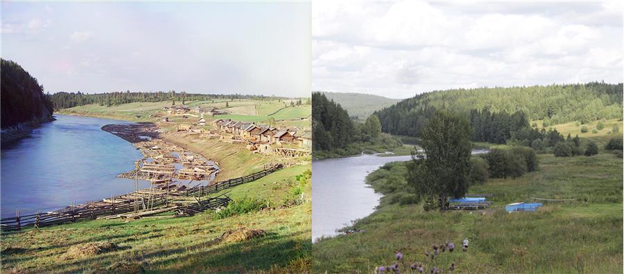 Общий вид пристани Кашка.  (фото слева С. Прокудин-Горский, справа П. Казарина)