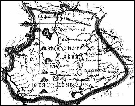 Карта демидовских владений на Урале XVIII в.