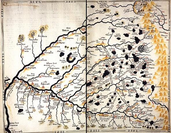 Арамильская и Краснопольская слободы на «Чертеже межевой башкирской земли» (1695 г.)