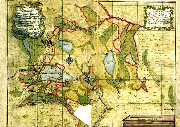 Карта Екатеринбурга и окрестностей с местами куреней и вырубкой лесов (1735 г.)