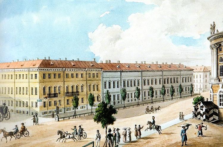 Вид Невского проспекта у Садовой улицы (неизв. худ., 1820-е гг.)