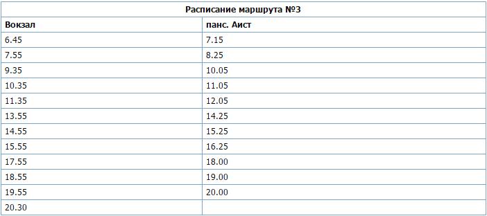 Расписание автобуса №3