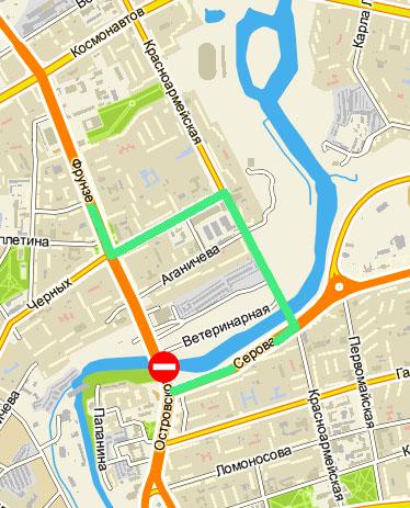 Зелёным маркером отмечена схема движения общественного транспорта