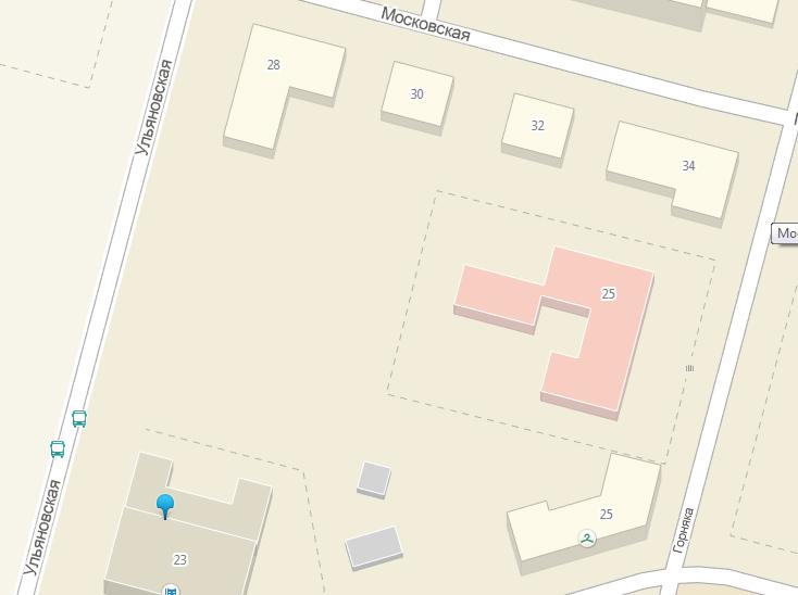 Площадка для футбольного поля. Красным отмечено здание школы №34, серым - Дворец национальных культур