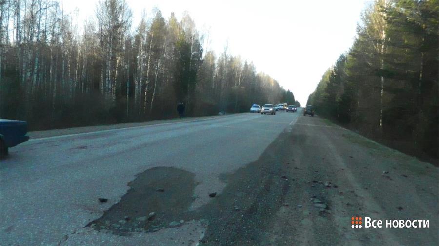 Яма по дороге в Черноисточинск - общий вид к месту ДТП