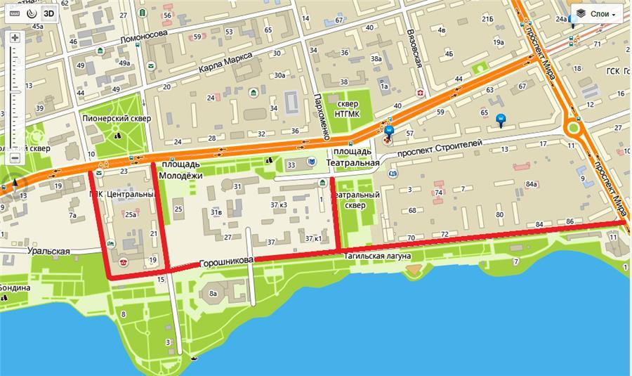 Закрытие дорог в Нижнем Тагиле на День города-2016