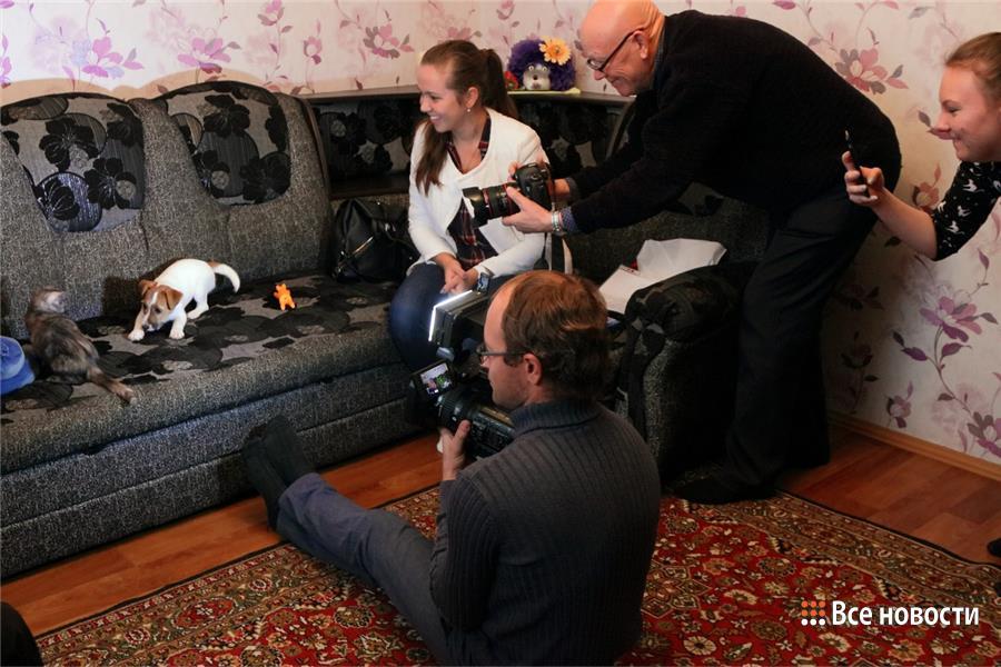 Игра щенка и котёнка увлекла всех гостей дома